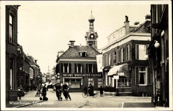 Ak Winschoten Oldambt Groningen Niederlande, Langestraat, Fahrräder 0
