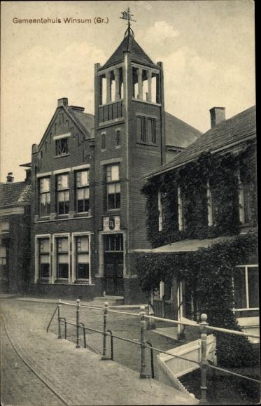 Ak Winsum Groningen Niederlande, Gemeentehuis 0