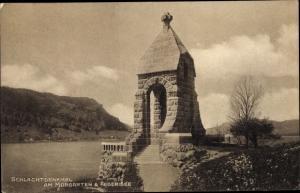 Ak Morgarten Oberägeri Kanton Zug, Schlachtdenkmal, Aegerisee