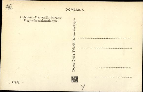 Ak Ragusa Dubrovnik Kroatien, Kloster Innenansicht, Franziskanerkloster 1