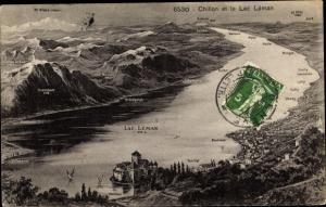 Ak Genf Kt Schweiz, Lac Leman, Chillon, Mt. Blanc