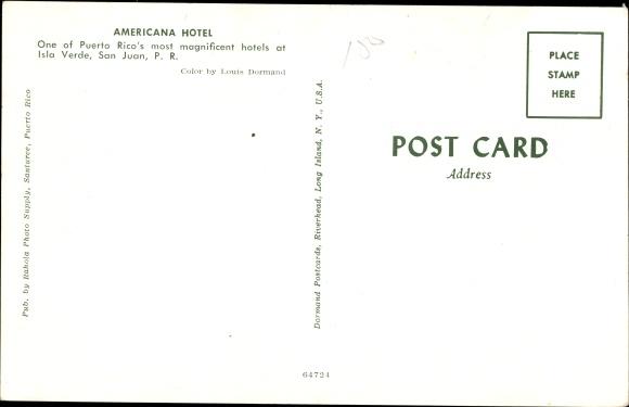 Ak San Juan Puerto Rico, Americana Hotel, Außenansicht 1