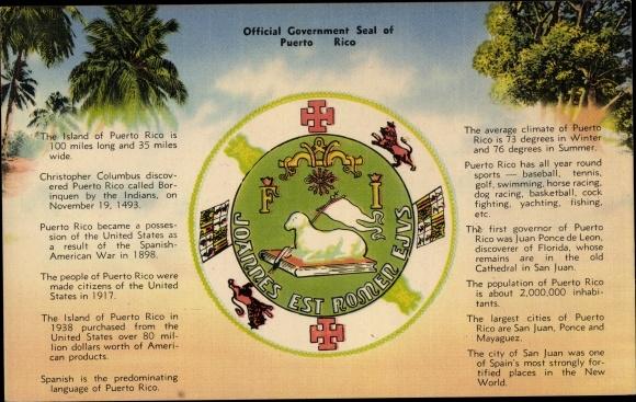 Wappen Ak San Juan Puerto Rico, Official Gouvernment Seal, Geschichte 0