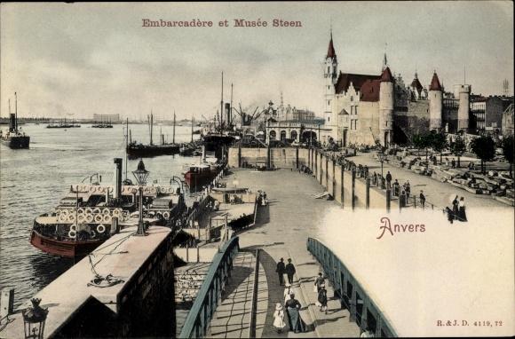 Ak Antwerpen Anvers Flandern, Embarcadere et Musee Steen 0