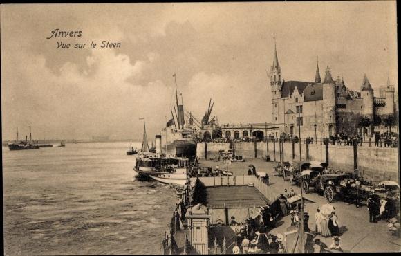 Ak Antwerpen Anvers Flandern, Vue sur le Steen, Salondampfer 0