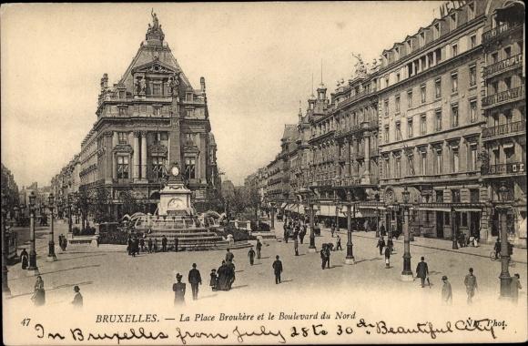 Ak Bruxelles Brüssel, La Place Broukere et le Boulevard du Nord 0