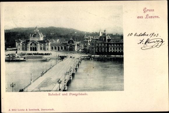 Ak Luzern Stadt Schweiz, Bahnhof und Postgebäude 0