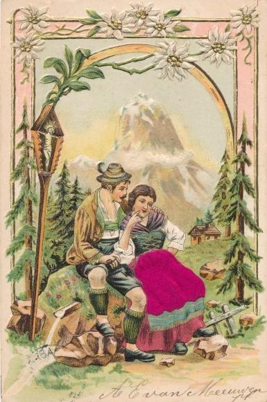 Stoff Präge Litho Mann und Frau in bayerischen Trachten, Berg, Dirndl, Lederhose 0