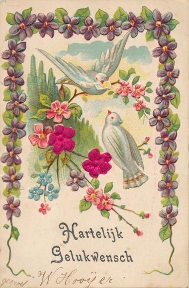 Stoff Präge Litho Tauben, Veilchen, Blumen, Kitsch 0