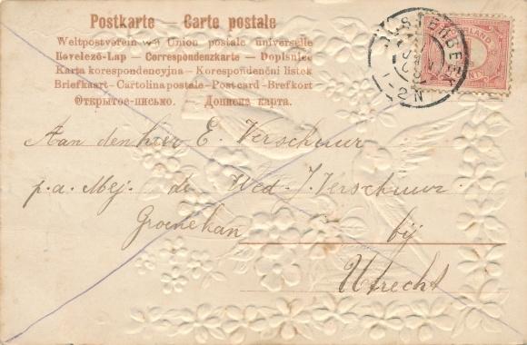 Stoff Präge Litho Tauben, Veilchen, Blumen, Kitsch 1