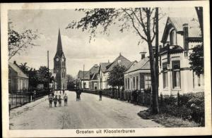 Ak Kloosterburen Groningen Niederlande, Ortspartie