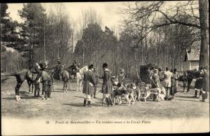 Ak Foret de Rambouillet Yvelines, Un Rendezvous a la Croix Pater