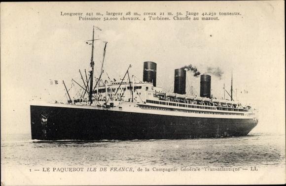 Ak CGT Dampfer Ile de France 0