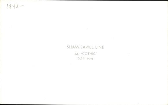 Ak Dampfer Gothic, Shaw Savill Line 1