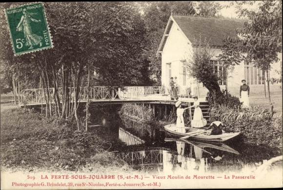 Ak La Ferté-sous-Jouarre Seine-et-Marne, Vieux Moulin de Mourette, La Passerelle 0
