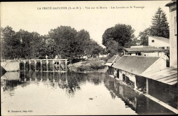 Ak La Ferté Gaucher Seine et Marne, Vue sur le Morin, Les Lavoirs et le Vannage 0