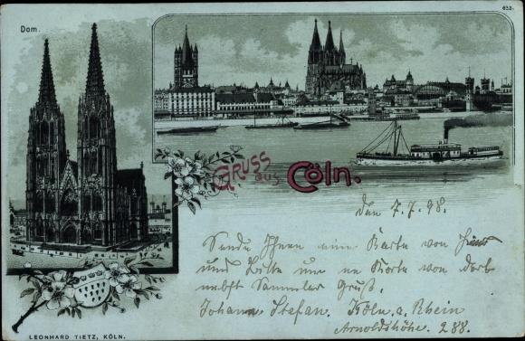Mondschein Litho Köln am Rhein, Dom, Panorama, Dampfer 0