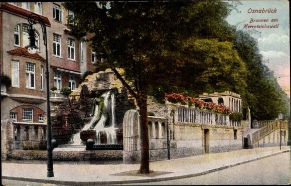 Ak Osnabrück in Niedersachsen, Brunnen am Herrnteichswall 0