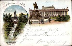 Litho Berlin Kreuzberg, Wasserfall im Victoria Park, Museum mit Friedrich Wilhelm III Denkmal