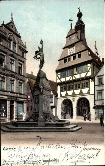 Ak Gießen an der Lahn Hessen, Kriegerdenkmal 0