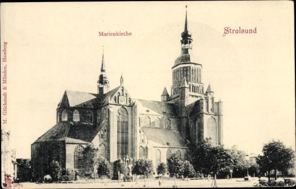 Ak Stralsund in Vorpommern, Marienkirche 0