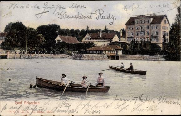 Ak Bad Schachen Lindau am Bodensee Schwaben, Panorama, Boote, Ruderer 0