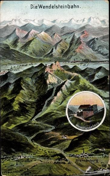 Künstler Landkarten Ak Felle, Eugen, Brannenburg in Oberbayern, Wendelsteinbahn 0