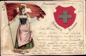 Präge Wappen Litho Schweiz, Flagge, Tracht