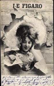 Zeitungs Ak Le Figaro, Dame mit Hut und Kleid