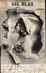 Zeitungs Ak Gil Blas, Portrait einer Dame, Hut