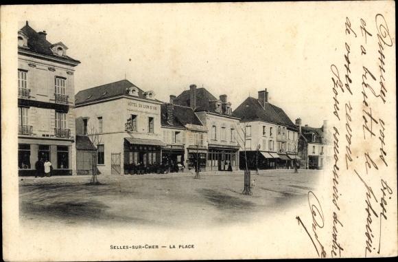 Ak Selles sur Cher Loir et Cher, La Place 0