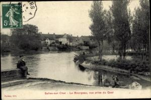 Ak Selles sur Cher Loir et Cher, Le Bourgeau, vue prise du Quai