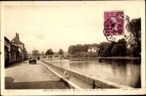 Ak Selles sur Cher Loir et Cher, Le Quai du Cher