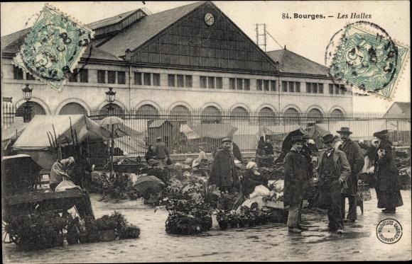 Ak Bourges Cher, Les Halles, Blumen 0