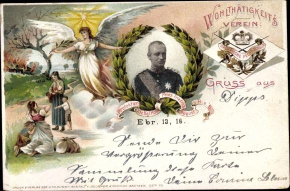 Litho König Friedrich August III. von Sachsen, Sächsischer Fechtverein 0