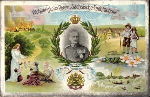 Litho König Friedrich August III. von Sachsen, Sächsische Fechtschule