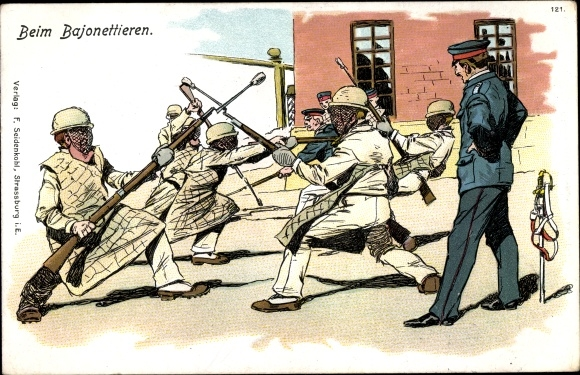 Litho Soldaten beim Bajonettieren 0
