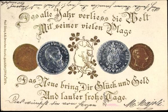 Präge Litho Glückwunsch Neujahr, Schwein, Kleeblätter, Münzen 0
