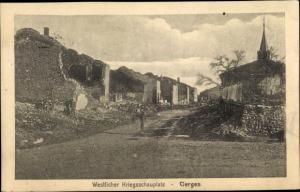 Ak Cierges Aisne, Kriegszerstörungen, I. WK, Straßenpartie