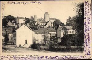 Ak Chavroche Allier, vue partielle du lieu, chateau