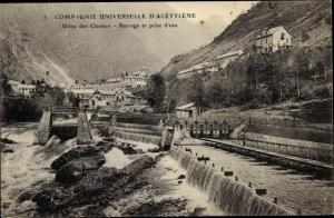 Ak Les Clavaux Allier, Compagnie universelle d'Acétylène, barrage et prise d'eau
