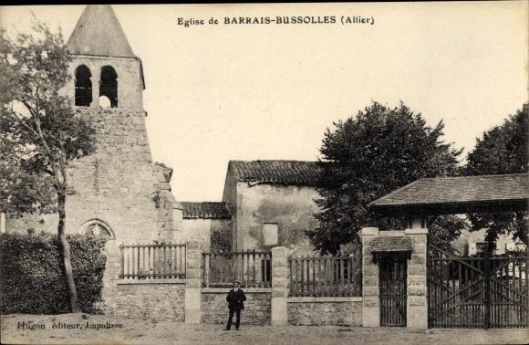 Ak Barrais Bussoles Allier, Eglise, vue générale, clôture 0