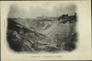 Passepartout Ak Commentry Allier, Tranchée de la Mine, vue panoramique
