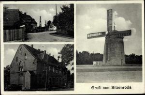 Ak Sitzenroda Belgern Schildau in Nordsachsen, Dorfpartie, Straßenansicht, Windmühle