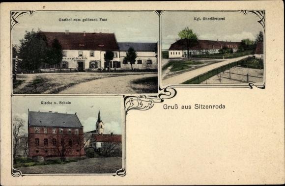 Passepartout Ak Sitzenroda Belgern Schildau in Nordsachsen, Gasthof zum goldenen Fass, Oberförsterei 0