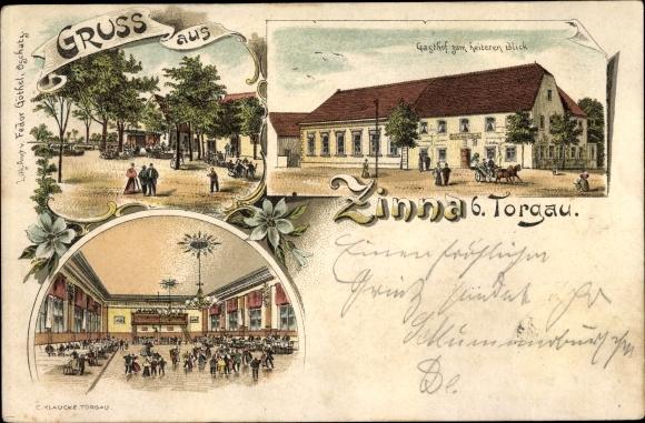 Passepartout Litho Ak Zinna Torgau in Nordsachsen, Gasthof zum heiteren Blick, Tanzsaal 0