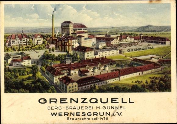 Ak Wernesgrün Steinberg Sachsen, Grenzquell Bergbrauerei H. Günnel 0