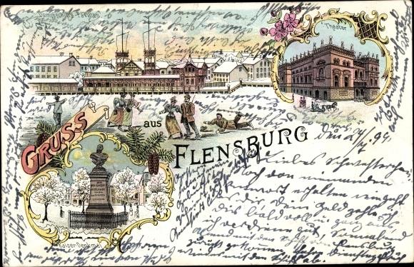 Litho Flensburg in Schleswig Holstein, Dampfschiffs Pavillon, Theater, Kaiserdenkmal 0