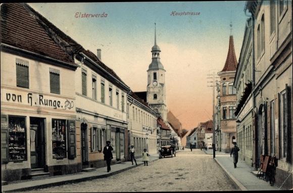 Ak Elsterwerda im Kreis Elbe Elster, Hauptstraße, Geschäft von H. Runge 0