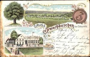 Litho Ponitz Altenburger Land Thüringen, Dreierhäuschen bei Gössnitz, Friedenslinde, Quarkspitzen